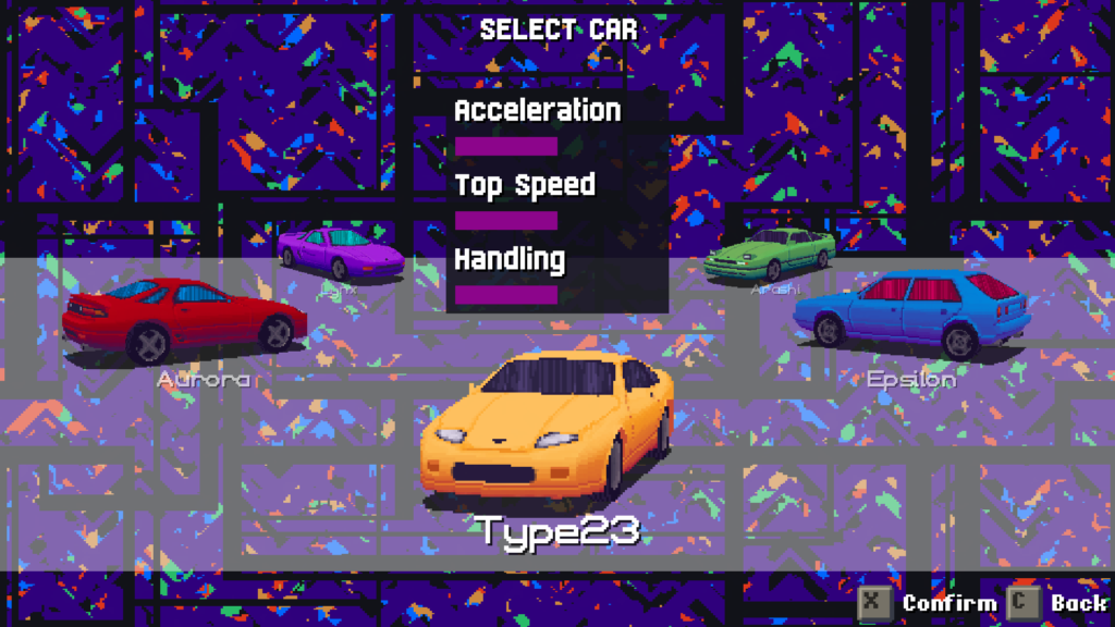 Selecting a car. You can also change a car's color by pressing Up or Down.