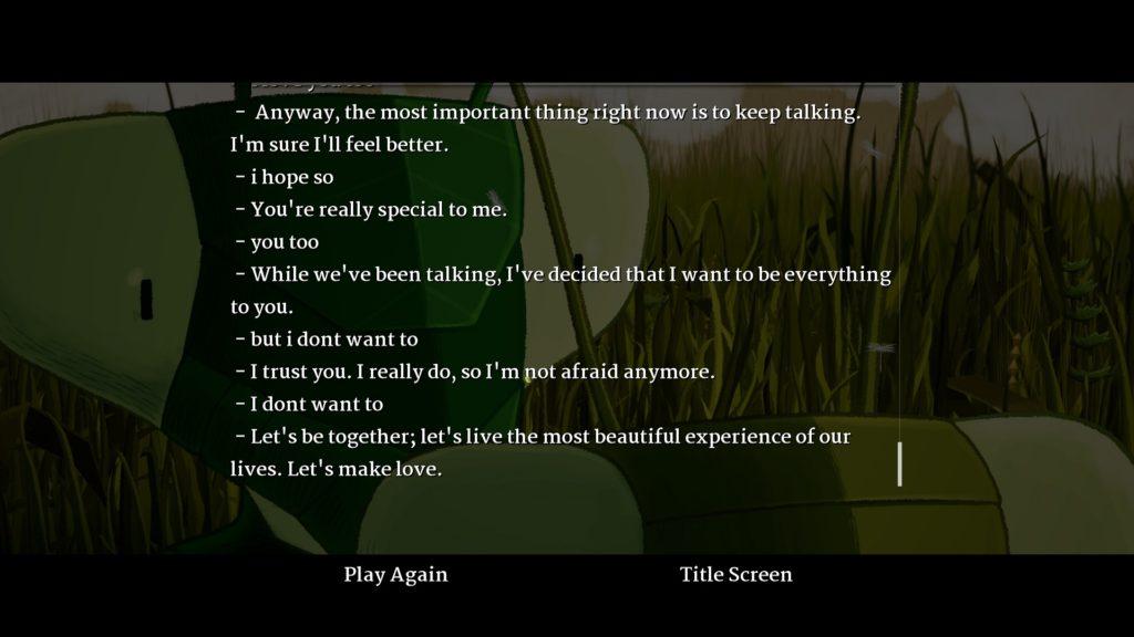 Don't Make Love Conversation Log Screenshot
