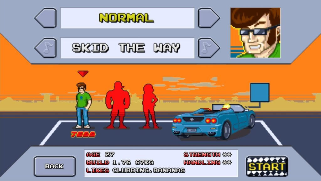 Character selection screen. Tess on the left, Kate on the right, Rico in the middle