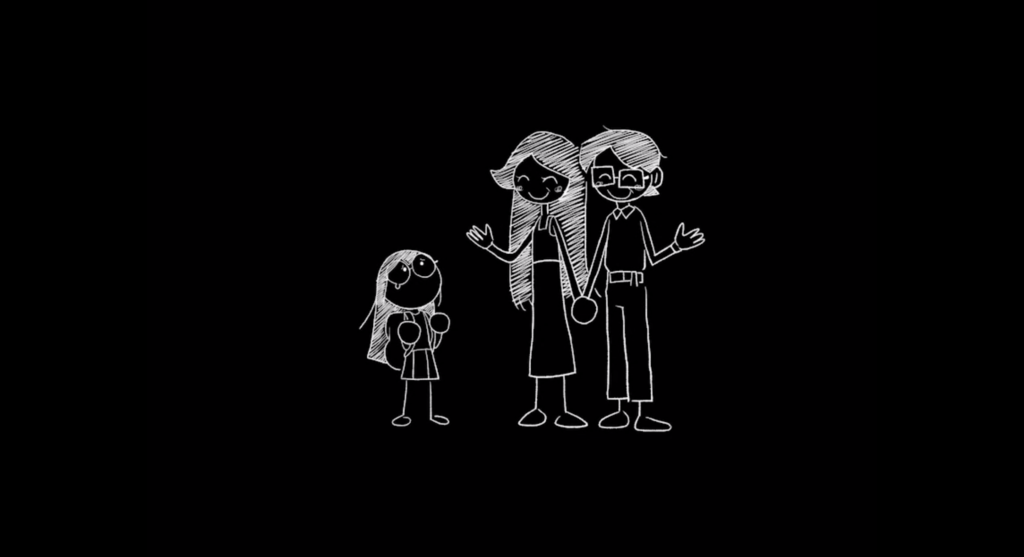 Escaped Chasm Screenshot - Cutscene - black and white line drawing art-style