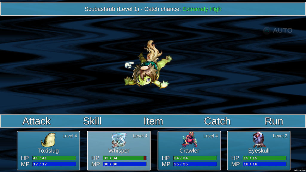 A screenshot of the battle screen. Four demons are part of my party, fighting against one enemy demon.