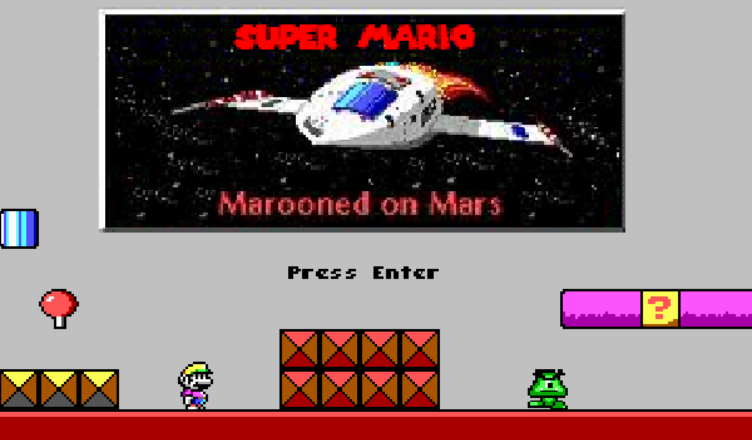 Super Mario in Marooned on Mars title screen