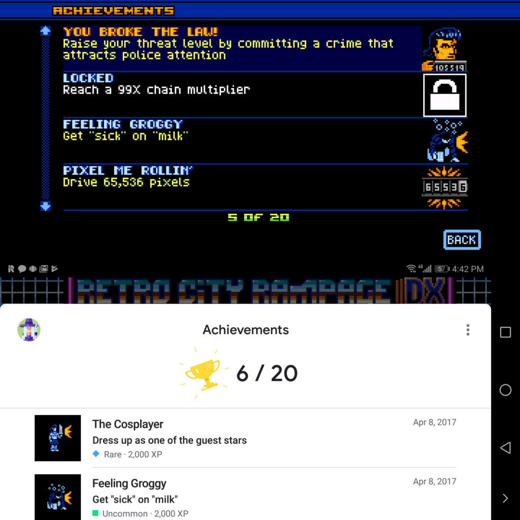 Retro City Rampage uses its local interface if Play Games was not found on the device, and uses the Play Games interface if Play Games was found.