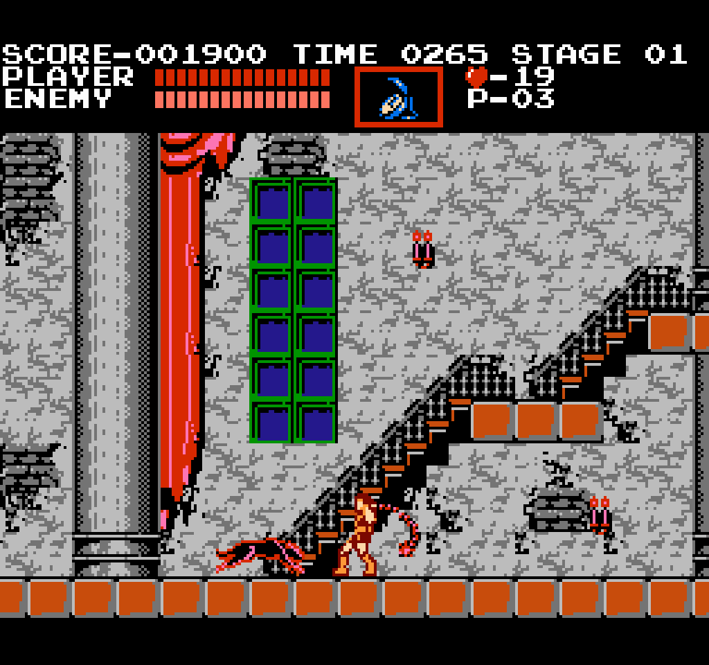Simon attacking a Black Leopard in Stage 1 of Castlevania