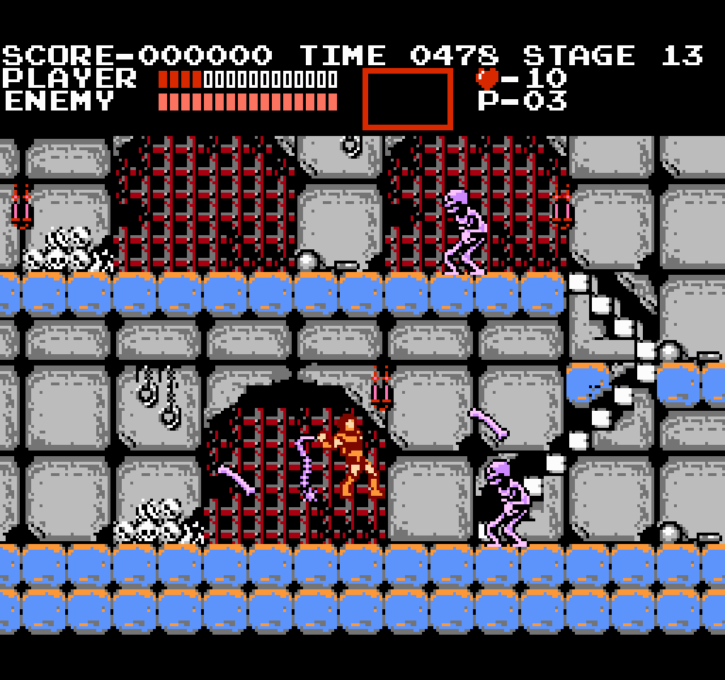 Simon attempting to attack an onslaught of White Skeletons throwing bones at him in Castlevania.