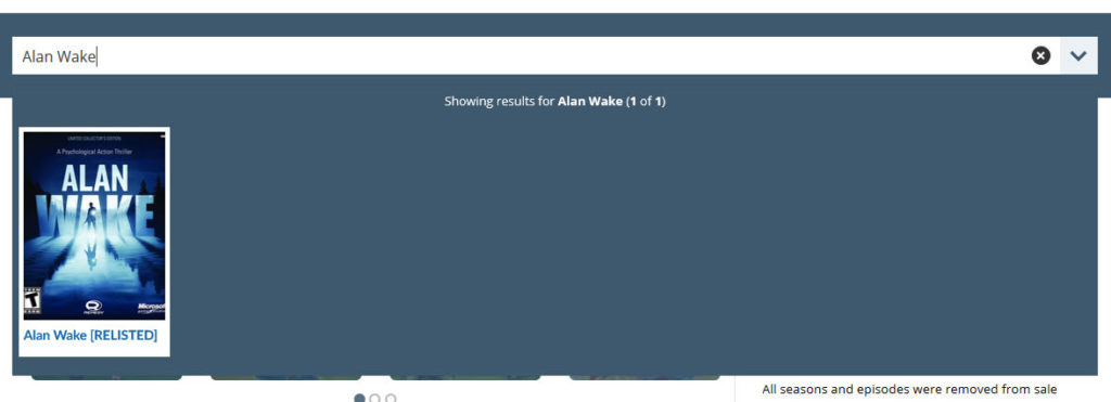 A search for Alan Wake on Delisted Games.