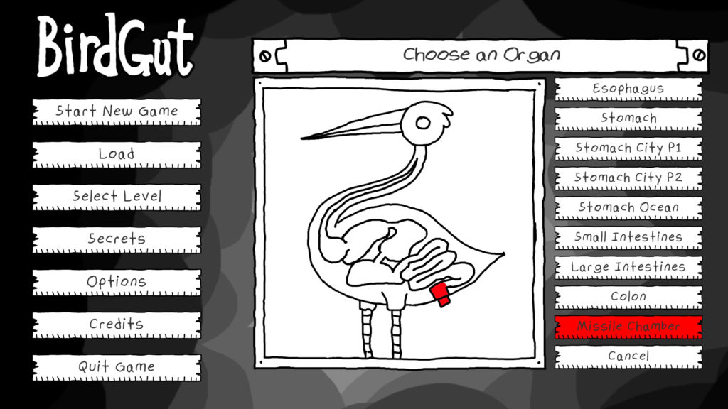 Birdgut Screenshot - Menu