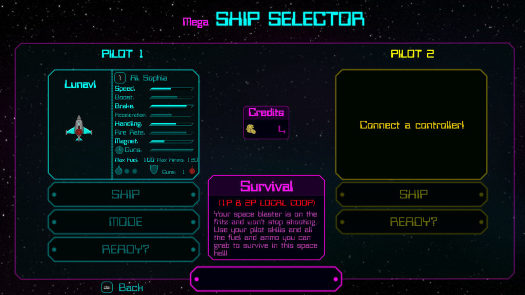 The ship and mode selection screen.