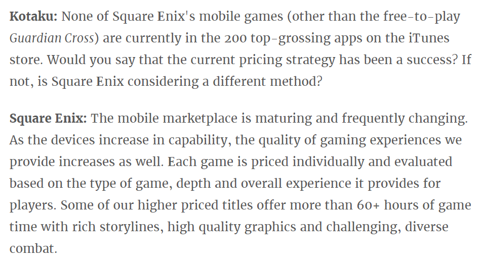 Square Enix defends it's pricing structure