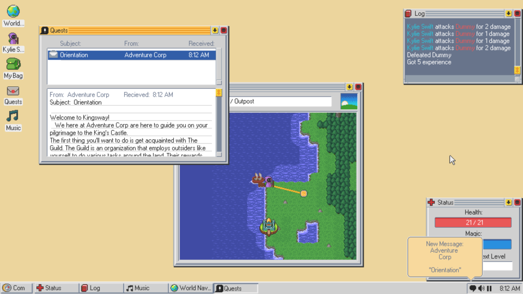 The desktop has a couple window such as World Navigator, the Quests application, the log and status windows.