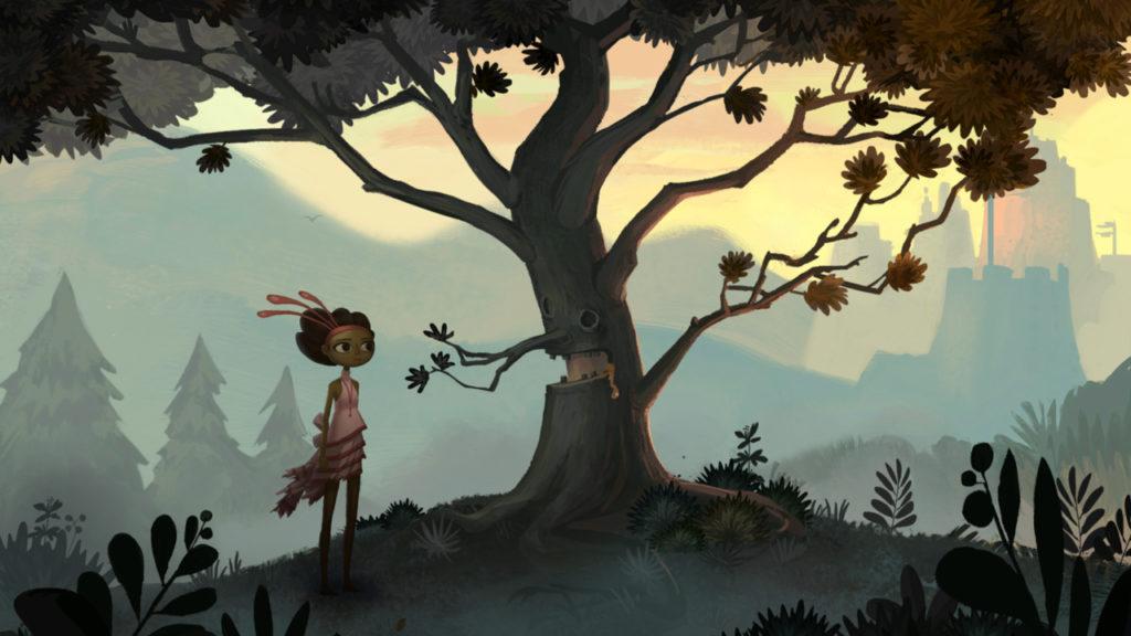 Broken Age Screenshot - Vella and the Barfing Tree