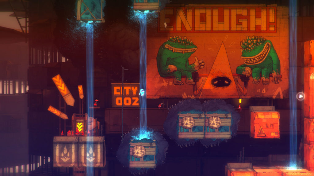 Screenshot of On Rusty Trails depicting the second level, with a propoganda poster.