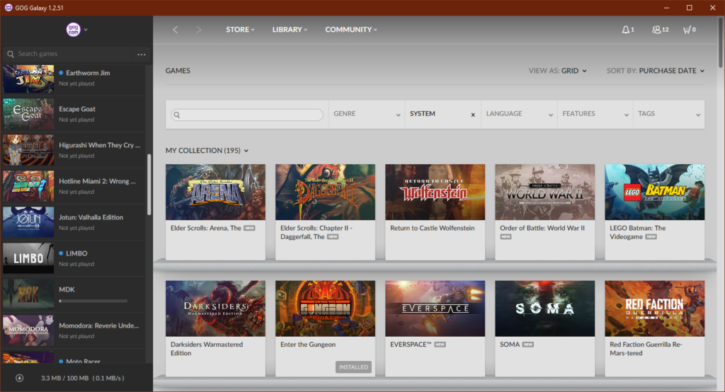 Screenshot of GOG Galaxy's library view.
