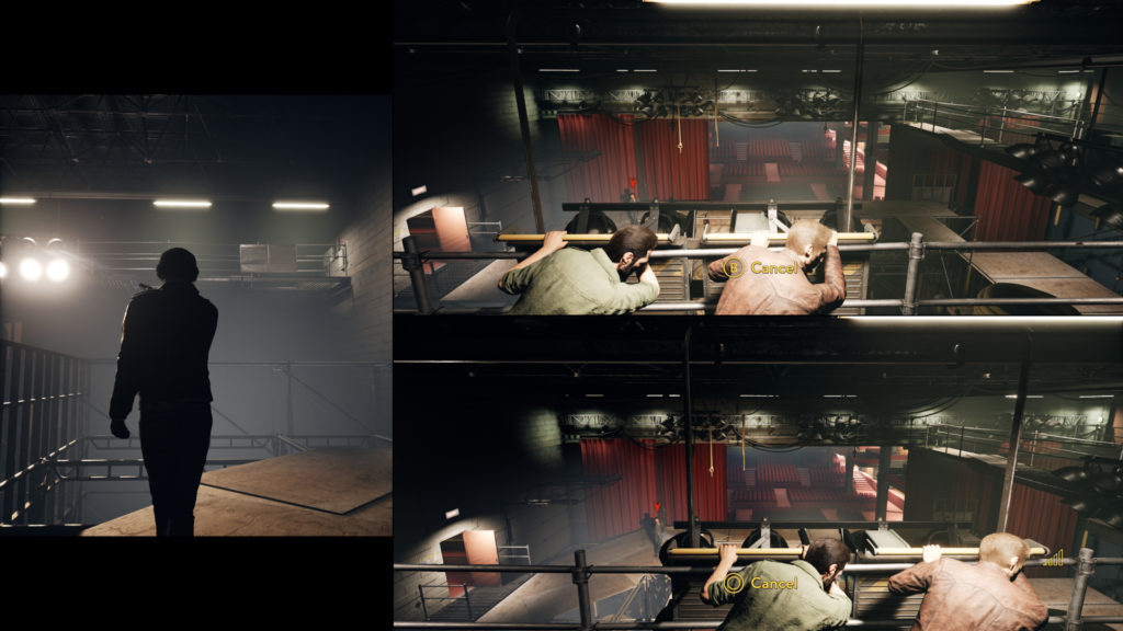 A Way Out Screenshot - Split Screen plus Cutscene - Dodging Bullets