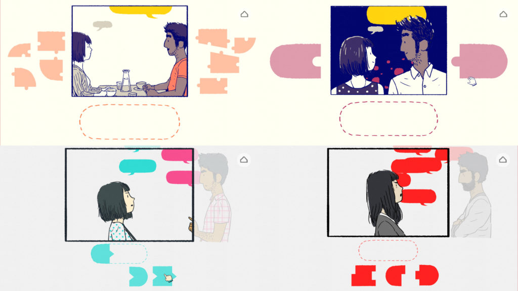 Florence 4x Screenshot - Symbolism in Puzzle Mechanics to Represent Tone of Conversations