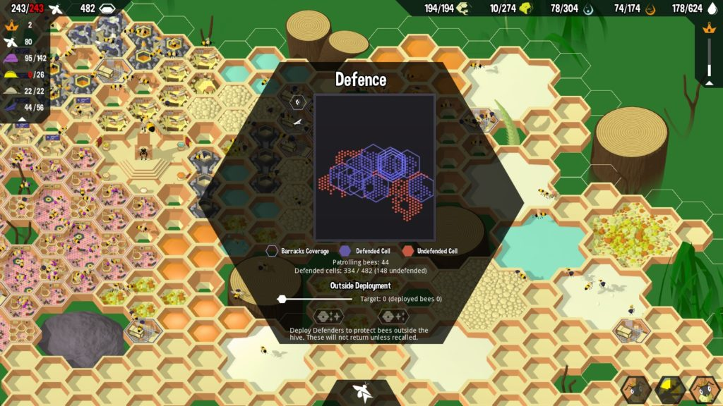 Picture of the Defense interface in Hive Time