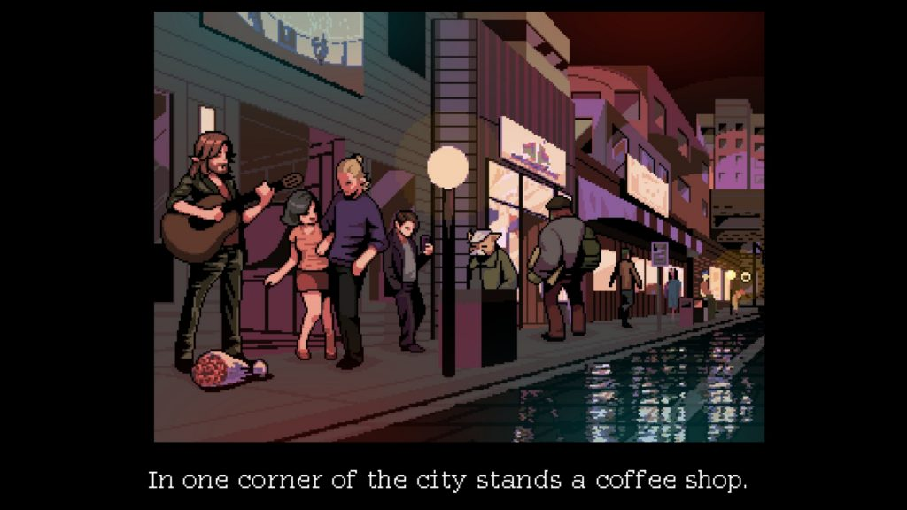Coffee Talk Screenshot - Alternate Seattle outside the coffee shop