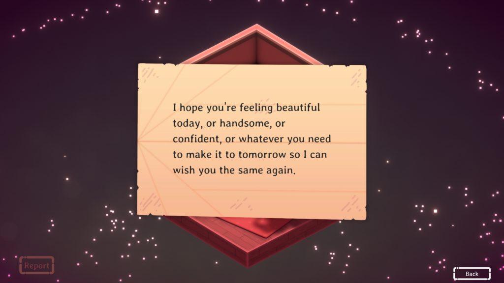 Kind Words Screenshot - A Message Received via Paper Plane