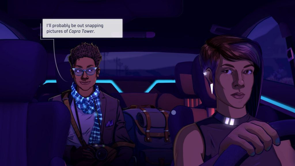 Neo Cab Screenshot - Driving PAX Liam to Los Ojos