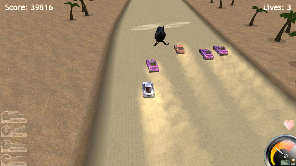 Screenshot of Highway Pursuit in the desert, with three enemy vehicles and a helicopter chasing.