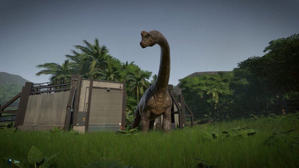 Jurassic World Evolution Screenshot - Brachiosaurus in the rain on Isla Tacano