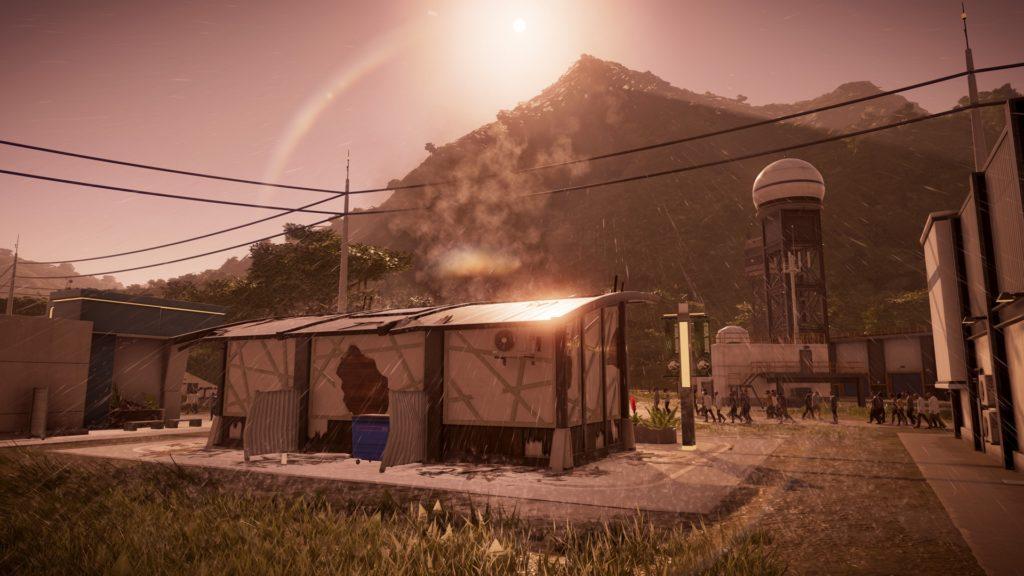 Jurassic World Evolution Screenshot - Isla Muerta Park during a Storm