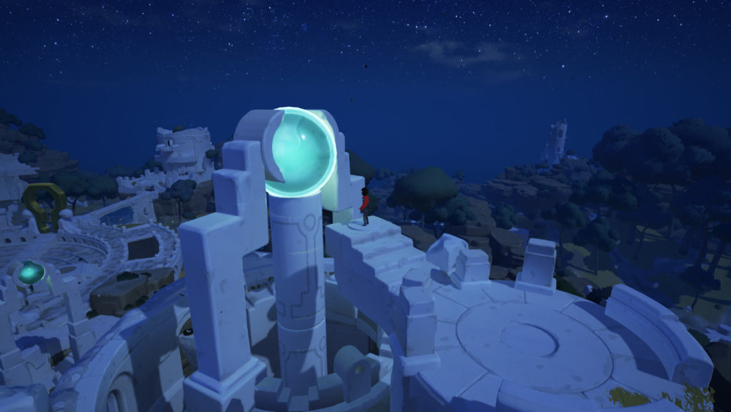 The boy facing a huge energy ball which he must shout at to activate in RiME.