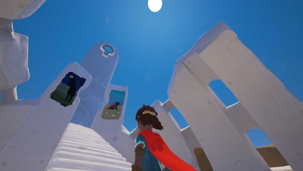 Screenshot of the stairs leading up to the Tower in RiME.