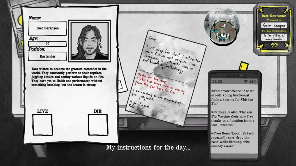 Death And Taxes Screenshot - Instructions for the Day