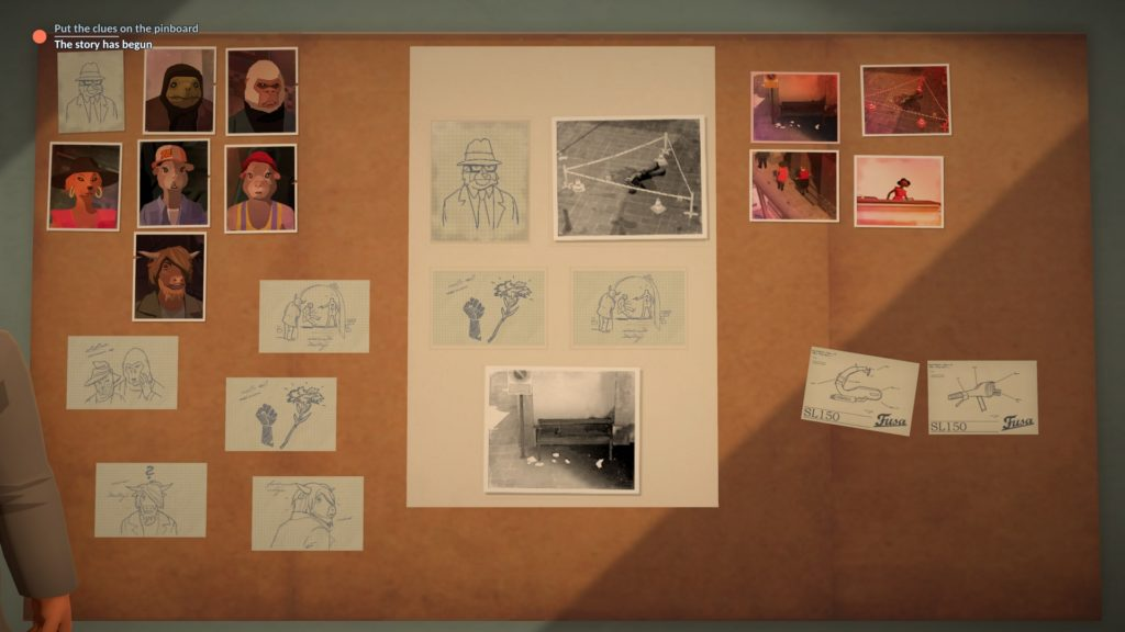 The Flower Collectors Screenshot - Organising Clues on the Pinboard